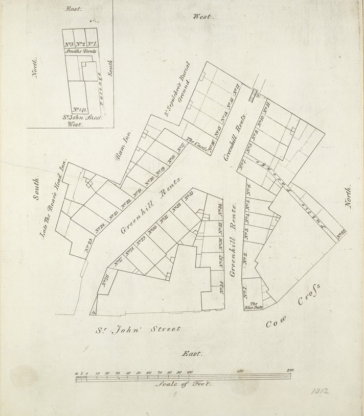 [Plan of property in St John Street, Greenhill Rents and Cow Cross]